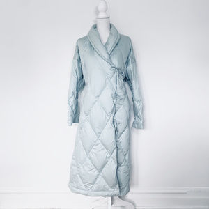 The Company Store S pale blue long down coat